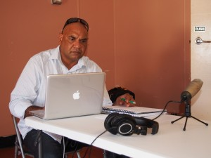 ICAN Research Officer, Eddie Buli reviews interview recordings.