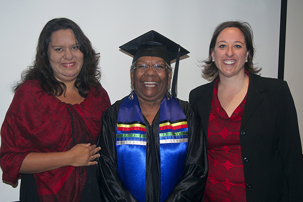 L to R: ICAN Chair - Janine Gertz, Graduate - Eunice Bartlet & Jennifer Levasseur - CBA Head of Indigenous Community Team