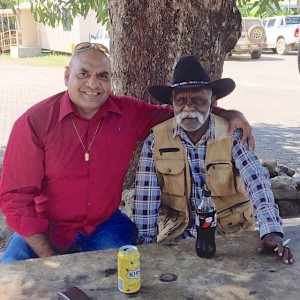 NQ Indigenous Taskforce member Eddie Buli and Wujal Wujal residents Glen 'Mario' Williams hanging out under the tree of knowledge.
