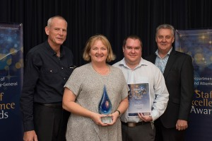 Pictured: Len Curran, Cathy Peel, Ben Armstrong and Brian Bauer from QOFT.